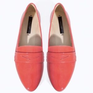 Zara Basic Coral Patent Leather Penny Loafer